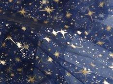 Mc-Stoff Organza dunkelblau blau Meterware Sternenhimmel Bedruckt Sterne