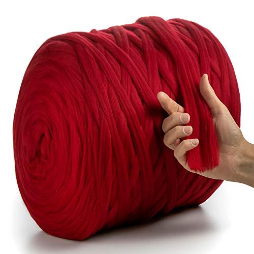 MeriWoolArt 100% Merinowolle zum Stricken & Häkeln mit 2 cm dickem Garn   Dicke Merino Wolle für XXL Schal, Decke & Kissen (Rot, 3 Kg Knäuel)