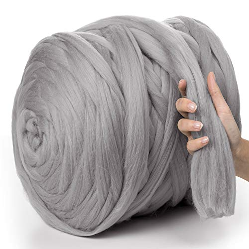 MeriWoolArt 100% Merinowolle zum Stricken & Häkeln mit 4-5 cm dickem Garn | dicke Merino Wolle für XXL Schal, Decke & Kissen (Hellgrau , 1Kg)