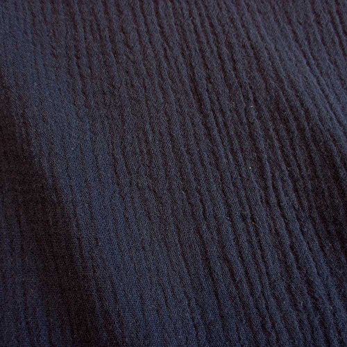 Meterware Stoff Baumwolle Musselin Marine dunkelblau blau Uni Mulltuch Kleiderstoff Double Gauze