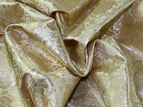 Minerva Crafts Brokat-Kleiderstoff mit Blumenmuster, Meterware, goldfarben
