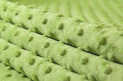 MINKY DOT – flauschiger Plüschstoff mit Noppen, Fleece, Meterware - Hellgrün