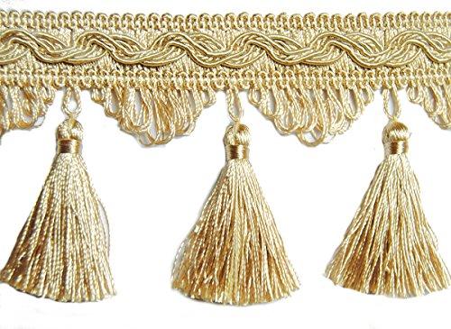 Mosel Avenue Art & Gobelin Studio Quastenborte Meterware Breite 80 mm/Farbe Light Gold Sand Posamentenborte Fransenborte m.Quasten m.Troddeln Dekoborte Vorhangborte Bordüre Jugendstil Barock