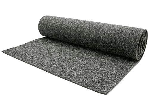Nadelfilz Meterware MERLIN - Grau, 2,00m x 1,00m, Robuster, Trittschalldämmender Teppich Bodenbelag für Wohn- und Büroräume