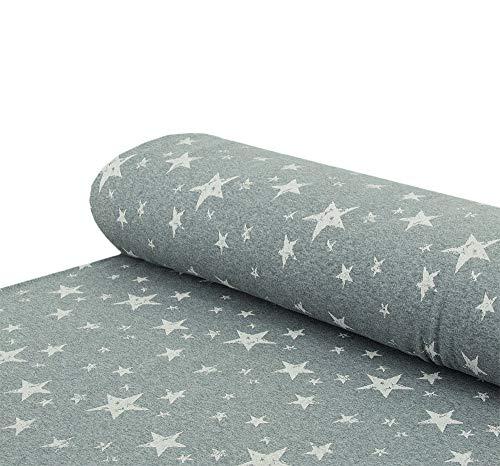 Nadeltraum Alpenfleece Sweatstoff Sterne kuschelweich grau - Meterware ab 25 cm x 150 cm - Stoff zum Nähen