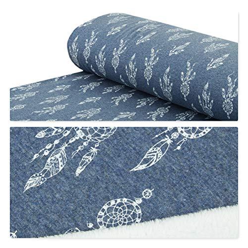 Nadeltraum Alpenfleece Sweatstoff Traumfänger kuschelweich Jeans - Meterware ab 25 cm x 150 cm - Stoff zum Nähen