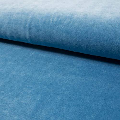 Nickistoff uni einfarbig jeansblau Kuschelstoff Kinderstoff - Preis gilt für 0,5 Meter