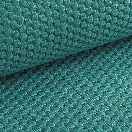 NOVELY® MAKAO moderner und kuscheliger Möbelstoff mit 3D-Wabenmuster ULTRAWEICH (09 | Petrol Türkis Blau)