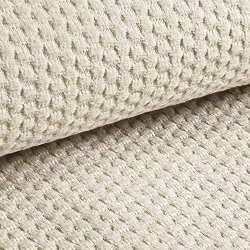 NOVELY® MAKAO moderner und kuscheliger Möbelstoff mit 3D-Wabenmuster ULTRAWEICH (01   Beige Hell)