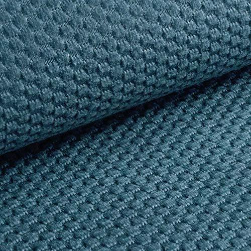 NOVELY® MAKAO moderner und kuscheliger Möbelstoff mit 3D-Wabenmuster ULTRAWEICH (10   Rauch Blau)