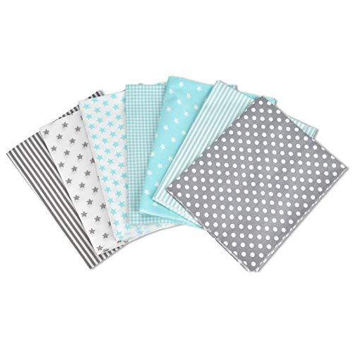OIZEN Baumwollstoff Meterware Stoffpaket 7 Stück je 50 x 80 cm, Stoffe zum Nähen Patchwork Stoff Paket Stoffreste Nähstoffe Baumwolle Öko-Tex DIY Baumwolltuch