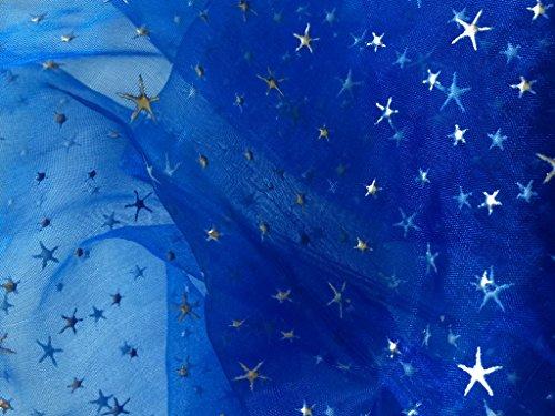 Organza Stoff royal blau Relief Sterne Bedruckt Meterware