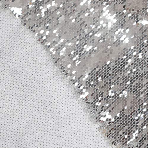 Paillettenstoff von The Yard Weiß bis Silber Farbwechsel Stoff Mermad Paillettenstoff Flip Pailletten Zweifarbig Paillettenstoff zum Nähen Paillettenstoff wendbar DIY Hochzeitskleid