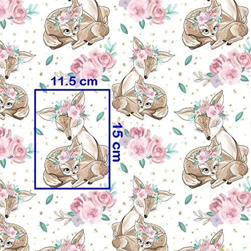 Pingianer 8,98€/m REH Rehkitz Rose 100% Baumwolle 50x160cm Baumwollstoff Meterware Handwerken Nähen Stoff (REH Weiß)