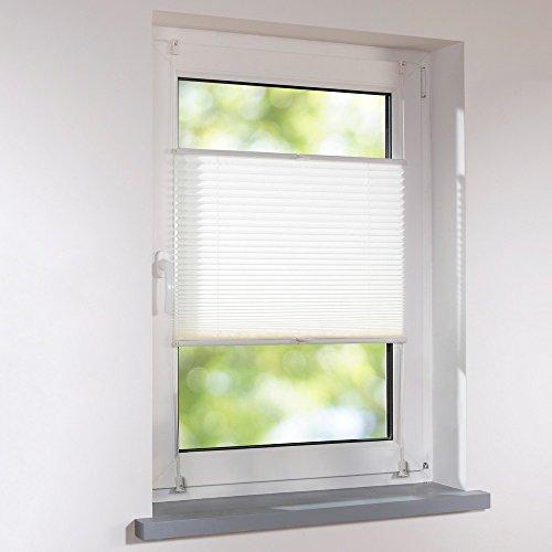 Plissee 125 x 130 cm weiß verspannt Klemmfix ohne Bohren Faltrollo Raffrollo Sonnen- & Sichtschutz