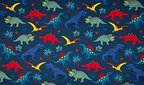 Qualitativ hochwertiger French Terry, Sweatshirtstoff, Bunte Dinosaurier auf Petrol als Meterware zum Nähen von Baby- und Kinderkleidung, 50 cm