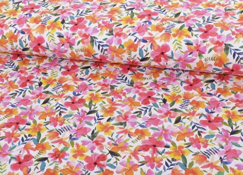 Qualitativ hochwertiger Sommersweat, Bunte Blumen als Meterware zum Nähen von Baby, Kinder- und Damenkleidung, 50 cm