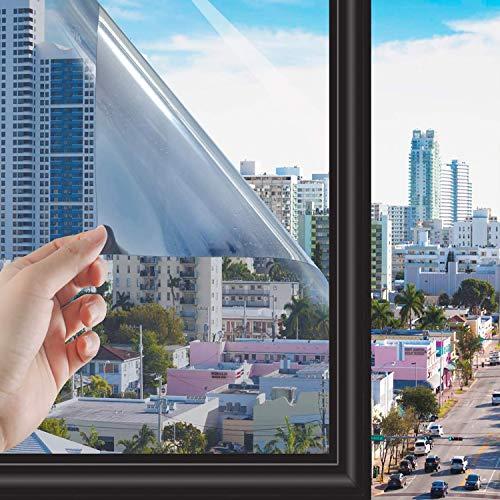 RMane Spiegelfolie Selbstklebend Sonnenschutzfolie Blickdichte Wärmeisolierung Sichtschutz Fensterfolie Dachfenster Folie für Haus Offices und Geschäfte (Silber, 60 x 200 cm)