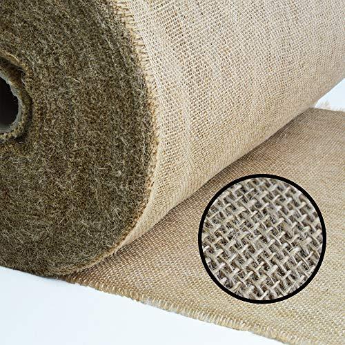 Roban Fashion Jute Stoff Fortlaufend 50cm breit natürlicher Stoff meterware Sackleinen für Haus & Garten,50cm Breit,5m Länge