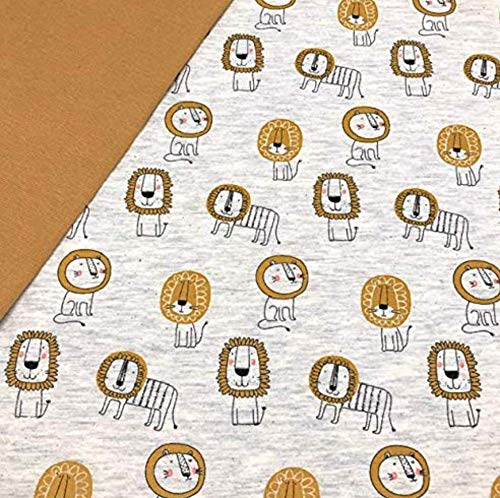 RosaliNum 0,5m x 1,4m Jersey Lion Löwe hellgrau Melange & 0,5m x 0,7m Bündchen Uni senf Breite 70cm (Schlauchware 2x35cm) Muster-Mix 95% Baumwolle 5% Elastan