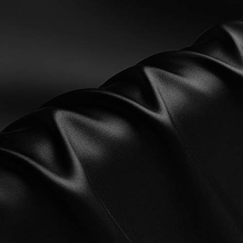 Schwarz 100% Reine Seide Charmeuse Stoff Krepp Stoffe für Näharbeiten Breite 114 cm