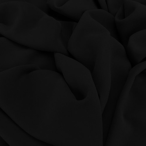 Schwarzer Georgette-Chiffon-Mischstoff, Kleiderstoff für Brautmoden, 150cm Breite,Meterware