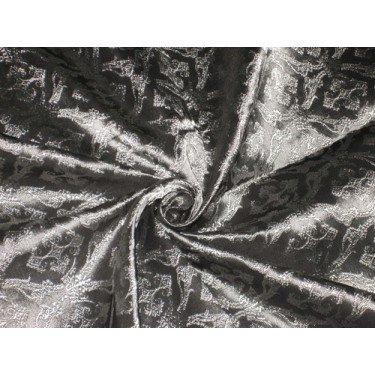 Seide Brokat Stoff Dark Steel Grau ist Silber Farbe 111,8cm Liturgische Kleidung Design bro159[4] by the Yard