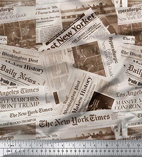 Soimoi 65 GSM Georgette Stoff Zeitungs-Druck 44 Zoll breit Craft Per Meter-Gray
