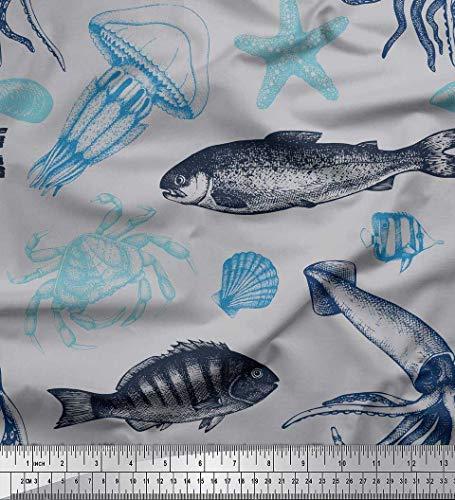 Soimoi Grau Georgette Viskose Stoff Quallen, Seesterne und Krabben Ozean Stoff Meterware 42 Zoll breit