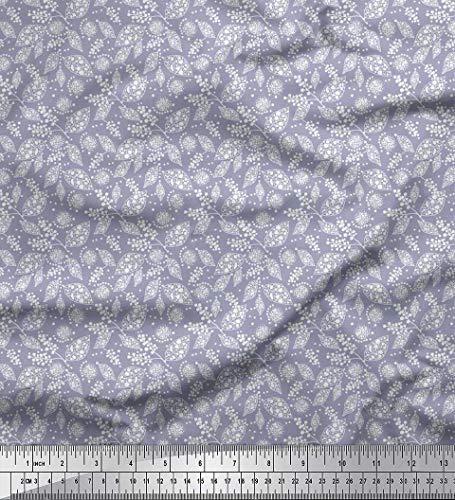Soimoi Grau modaler Satin Stoff dot & Blatter Stoff Meterware 42 Zoll breit
