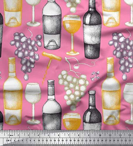 Soimoi Rosa Poly Georgette Stoff Trauben, Weinglas & Flasche Stoff Meterware 52 Zoll breit
