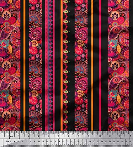 Soimoi Schwarz Georgette Viskose Stoff Streifen, Blumen & Paisley Stoff Meterware 42 Zoll breit
