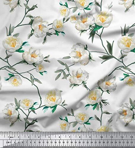 Soimoi Weiß Georgette Viskose Stoff Blätter & Magnolie Blumen- Stoff Meterware 42 Zoll breit