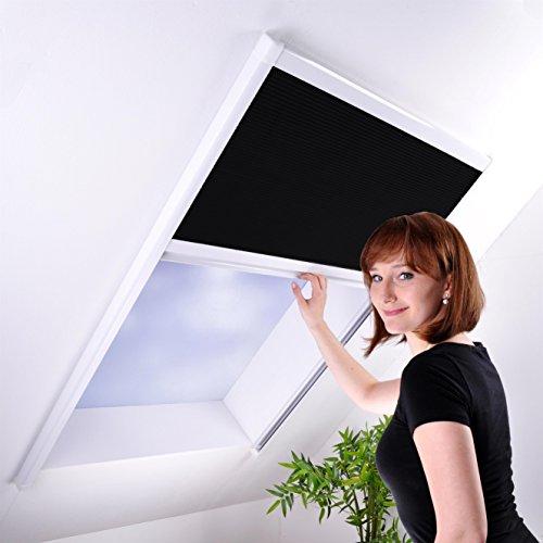 Sonnenschutz-Plissee für Dachfenster bis max. 100 x 157 cm - Sonnenschutzplissee Dachfensterplissee Sichtschutz weiß