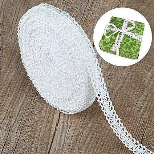Spitzenband Weiß Vintage, Baumwolle Spitze Borten Band Dekoband Meterware Rolle für Hochzeit Geschenkverpackungen Basteln Deko, Spitzenborte zum Nähen - Baumwollspitze auf einer Rolle (15M x 2 cm)