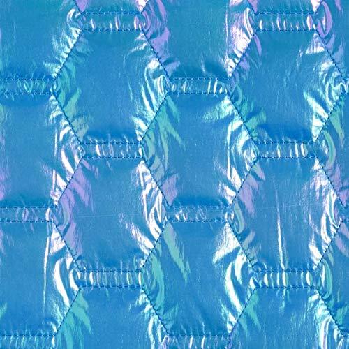 Steppstoff Waben irisierend – türkisblau — Meterware ab 0,5m — zum Nähen von Jacken, Mäntel und Weste