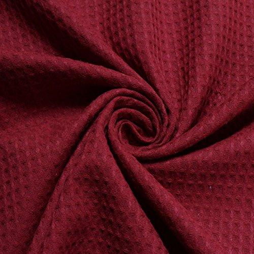 Stoff am Stück Stoff Baumwolle Waffelpiqué bordeaux Waffelpikee Waffelpique dunkelrot weinrot rot