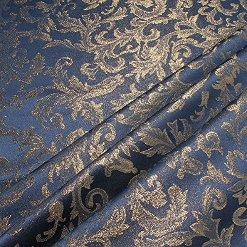Stoff Polyester Jacquard Ornament blau gold Lurex Goldbrokat Barock Rokoko 300