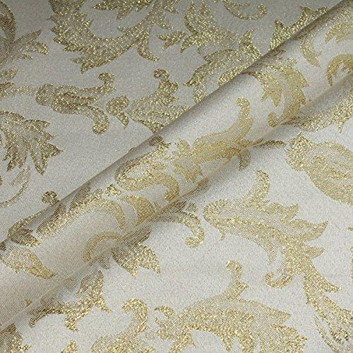 Stoff Polyester Jacquard Ornament ecru gold Lurex Goldbrokat Barock Rokoko 300