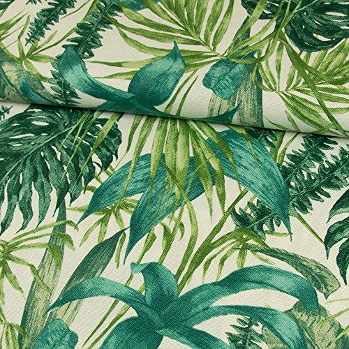 Stoffe Werning Dekostoff Blätter grün Canvasstoff Dekorationen - Preis Gilt für 0,5 Meter -