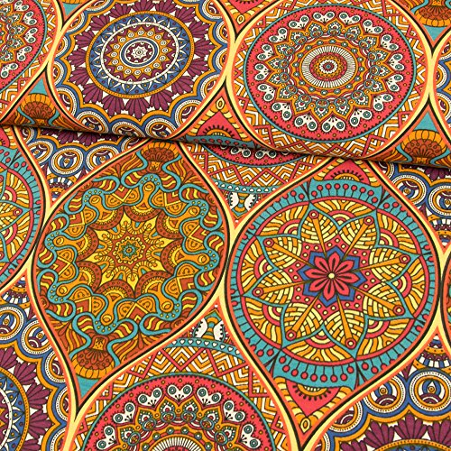 Stoffe Werning Dekostoff Mandalas bunt Canvasstoffe Dekorationen Ornamente - Preis Gilt für 0,5 Meter