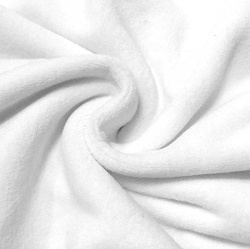 STOFFKONTOR Nicki Baumwollstoff Stoff - kuschelweicher Wohlfühlstoff, Kinderstoff - Meterware, Weiss - zum Nähen von Kinderkleidung, Hausanzügen, Kissen