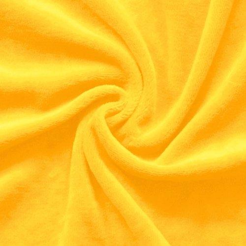 STOFFKONTOR Nicki Baumwollstoff Stoff - kuschelweicher Wohlfühlstoff, Kinderstoff - Meterware, Sonnen-gelb - zum Nähen von Kinderkleidung, Hausanzügen, Kissen