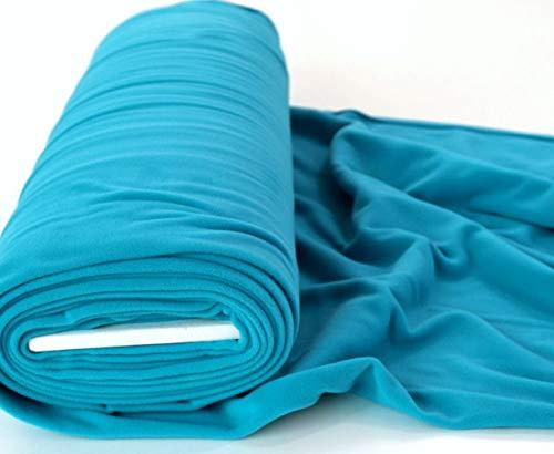 STOFFKONTOR Polar Fleece Stoff Meterware, Fleecestoff zum Nähen mit Antipilling Eigenschaften - Azur-Blau