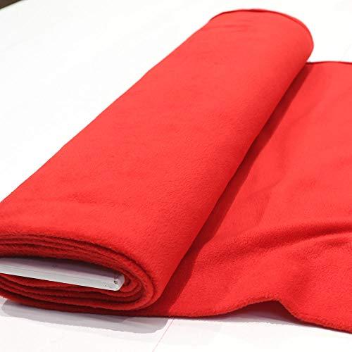STOFFKONTOR Polar Fleece Stoff Meterware, Fleecestoff zum Nähen mit Antipilling Eigenschaften - Rot