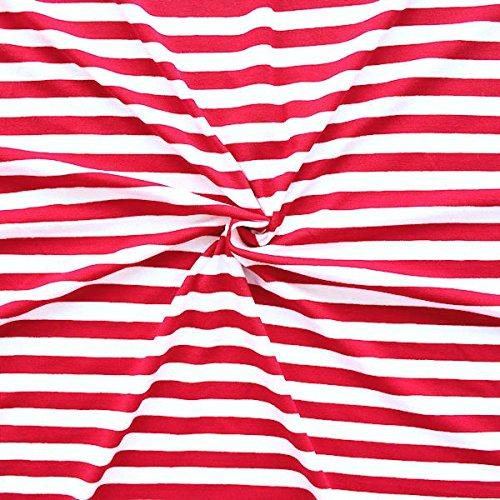 STOFFKONTOR Viskose Stretch Jersey Stoff Ringel Mittel - Meterware, Rot-Weiss - zum Nähen von Shirts, Kleidern, Bodys, Tuniken UVM.