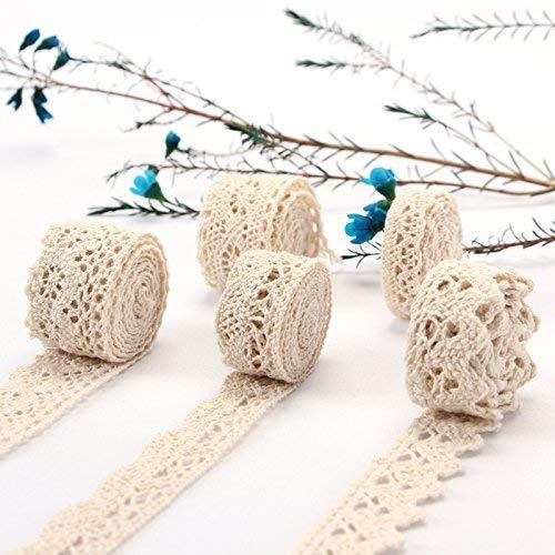 ToBeIT Vintage spitzenband 30 Meter aus Baumwolle- Beige spitzenband Dekoband Zierband Spitzenstoff Spitzenborte für Nähen Handwerk Hochzeit Deko Scrapbooking Geschenkbox (30meter/5type)