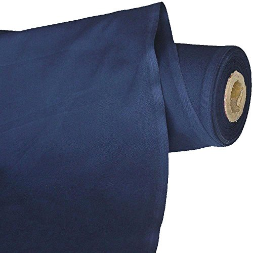 TOLKO 50cm Baumwollstoffe Meterware   der Klassiker zum Nähen Dekorieren   Reine Oeko-Tex Baumwolle   natur Baumwoll-Nesselstoff als Kleiderstoff Dekostoff Bezugsstoff Vorhang Sonnenschutz (Marine-Blau)