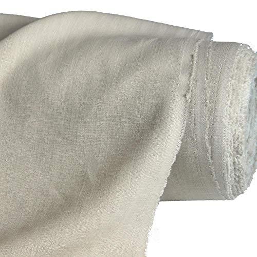 TOLKO 50cm Leinen-Stoff als Meterware   blickdichter Naturstoff   für Hose Rock Bluse Kleider Gewänder   fein gewebter Dekostoff für Vorhänge Gardinen und Dekorationen   140cm breit (Natur Beige)