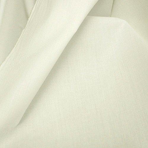 TOLKO Baumwollstoff | 42 kräftige ÖkoTex Farben Baumwoll-Nesselstoff uni Kleiderstoff Dekostoff | Baumwolle Meterware 150cm breit | Vorhang-Stoff Bezugsstoff Webstoff 50cm (Creme)